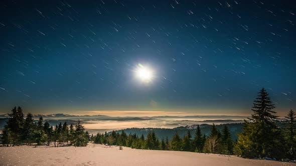 Thumbnail for Moon and Stars Time Lapse in Carpathian Mountains