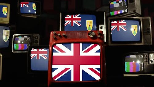 Turks and Caicos Islands Flags and UK Flag on Retro TVs.