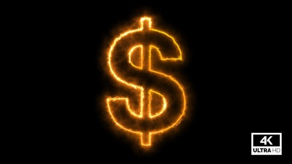 Growing & Burning Dollar Sign With Flame