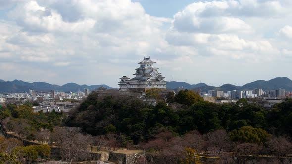 Himeji Castle on Forestry Hill Top Japan Timelapse