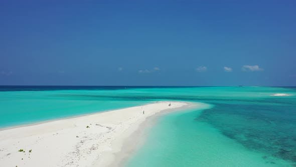 Thumbnail for Beautiful birds eye abstract view of a paradise sunny white sand beach and blue water background in