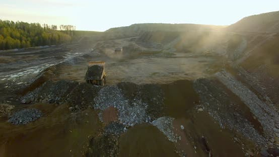 Thumbnail for Dump Trucks Unload the Ground and Stones