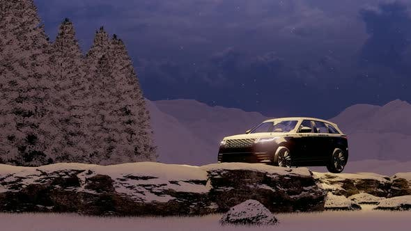 Thumbnail for Evening Luxury Black Luxury Off-Road Vehicle in Snowy Mountain Area