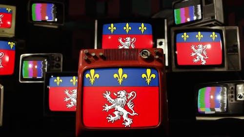 Flag of Lyon, France, on Retro TVs.