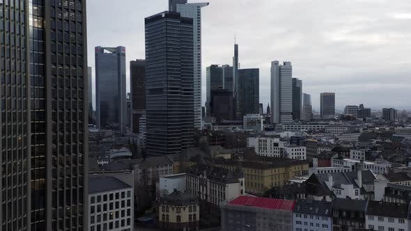 Thumbnail for AERIAL: Towards Frankfurt Am Main, Germany Skyline on Cloudy Grey Winter Day with City Traffic