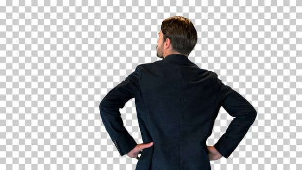 Confident businessman standing with hands, Alpha Channel