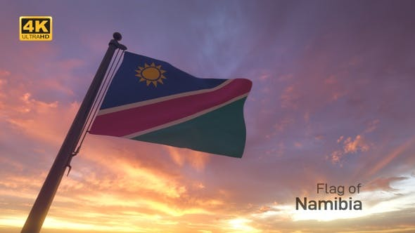 Namibia Flag on a Flagpole V3 - 4K
