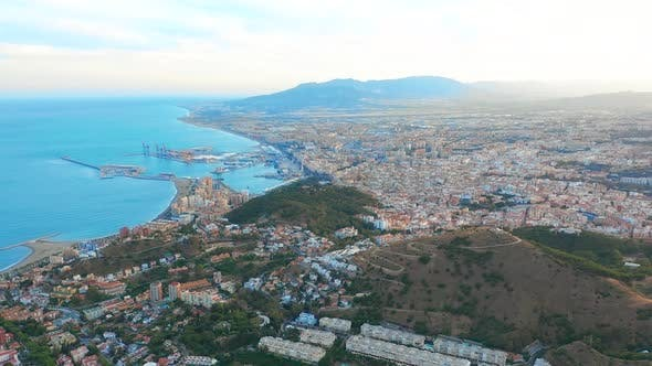 Thumbnail for Malaga, Spain. A Panorama Shot By a Drone Over Malaga. City Buildings and Seaside View