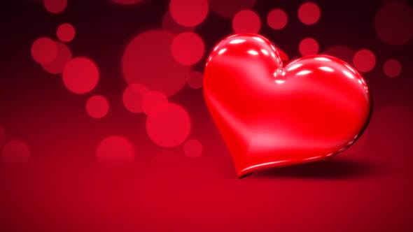 Thumbnail for Animation closeup motion big romantic heart and glitters on red Valentines day shiny background
