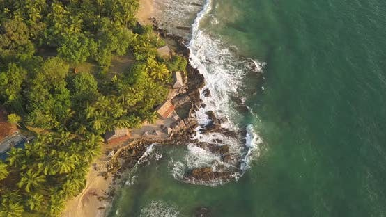 Thumbnail for Ocean Waves at Sunset. Sri Lanka, Drone Footage.