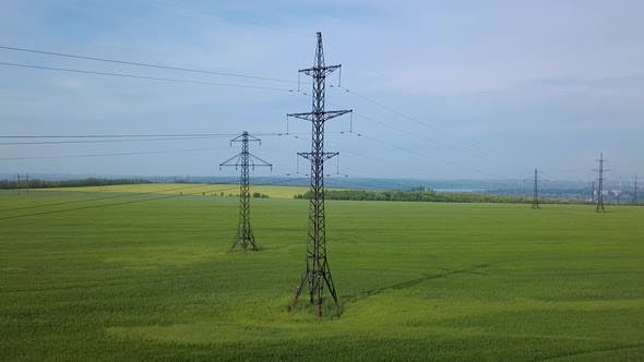 Thumbnail for High-voltage Power Pylon on the Green Field