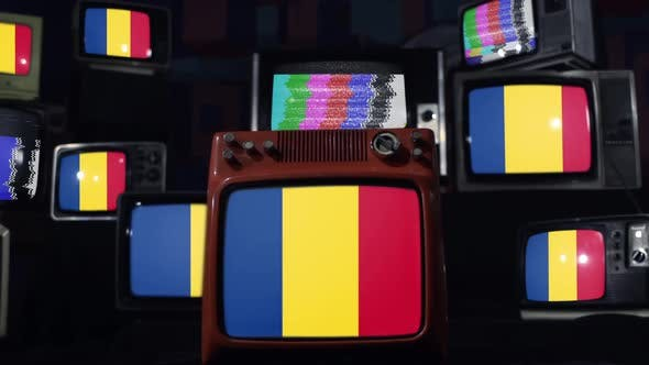 Romania Flags and Retro Televisions.