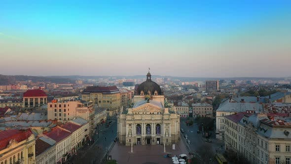 Thumbnail for Aerial View of Lviv Opera and Balet Theatre in Lviv Old City Center, Ukraine, Europe