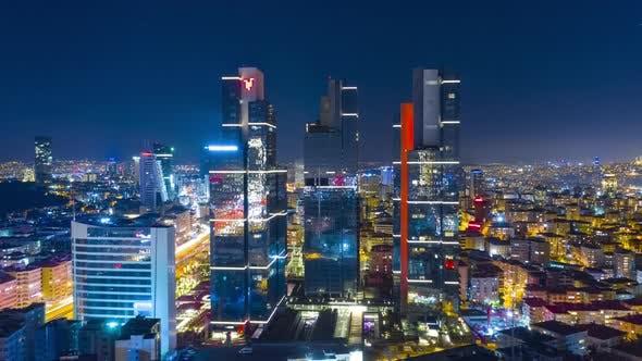 Thumbnail for Geschäfts- und Finanzviertel von Istanbul mit Highrisen und Einkaufszentren und Kommerziell gebäuden in