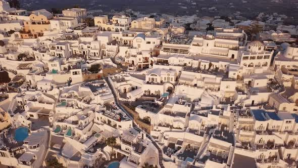 Thumbnail for Aerial View of Villas in Fira at Sunset, Santorini