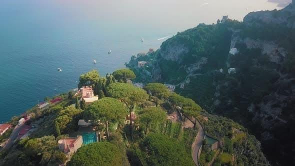 Thumbnail for Ravello and Atrani Aerial, Amalfi Coast. Aerial Shot on a Sunset