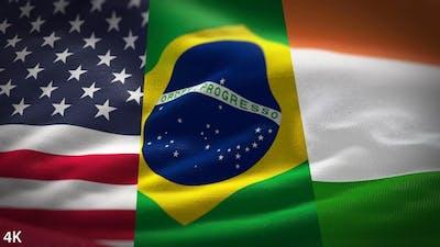 Indian Brazilian & American Flags Waving with Coronavirus Overlay
