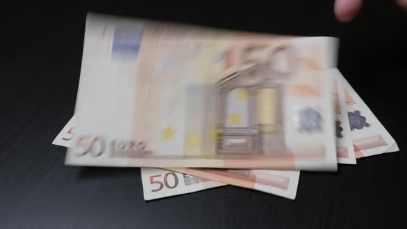 Thumbnail for Lot of Euro paper money counting  in  different values in slow motion 1080p HD footage - Lot of Euro