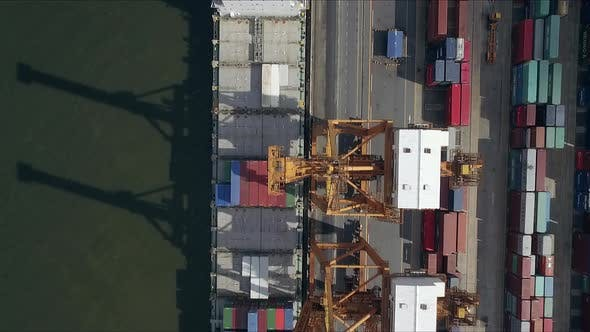 Thumbnail for Logistic Concept Aerial Shot Above Commercial Dockyard 01