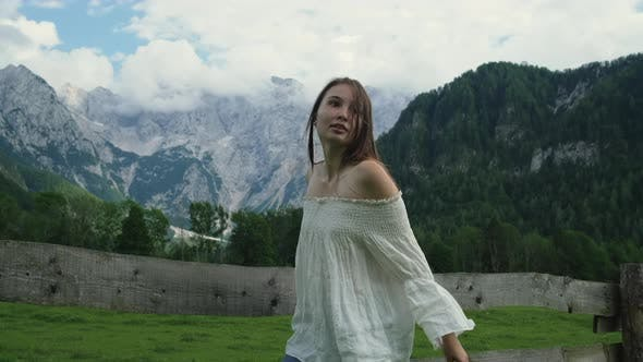 Girl Enjoying the Time in Mountain Countryside