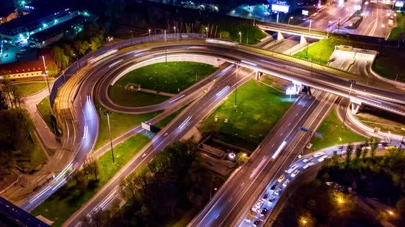 Thumbnail for Freeway Intersection Traffic Trails in Night Moscow