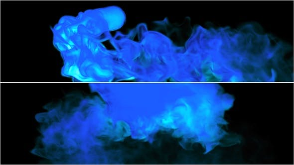 Blauer Rauch bewegend