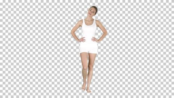 Thumbnail for Yoga Stretching Hals Mädchen in weiß zu Fuß und tun Übung