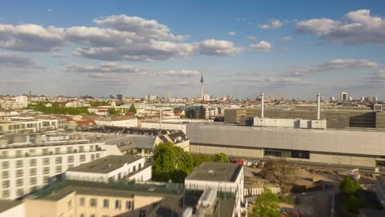 Cover Image for AERIAL: Beautiful Drone Hyper Lapse, Motion Time Lapse Over Berlin Mitte Central Neighbourhood with
