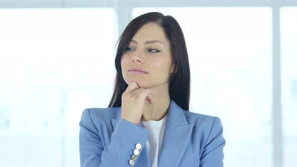 Thumbnail for Portrait of Thinking Pensive Young Female Worker