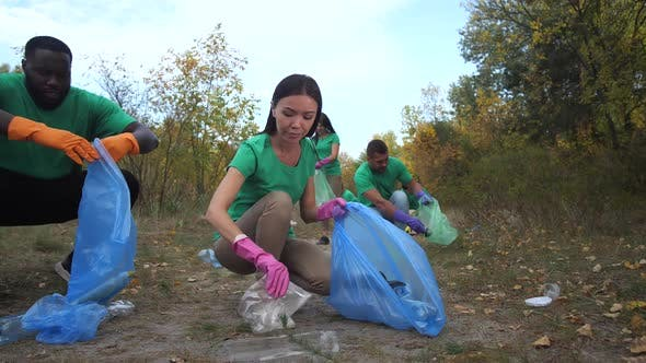 Thumbnail for Multiracial Volunteers Picking Up Garbage Outdoors