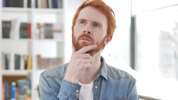 Thumbnail for Portrait of Thinking Casual Redhead Man