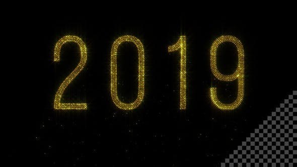 Year 2019 - Shiny Golden Glitter with Transparency