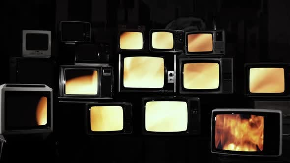 Thumbnail for Fire Flames Background on Old 80s Televisions.