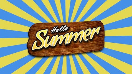 Text Hello Summer with sun rays and wood
