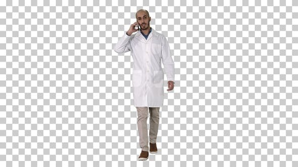 Thumbnail for Professional medical doctor talking on mobile phone while walking