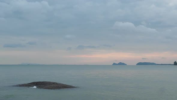 Thumbnail for Beautiful Calm Blue Sea And Cloudy Sky At Sunset