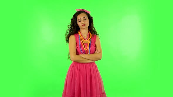 Thumbnail for Young Woman Stands Waiting with Boredom on Green Screen