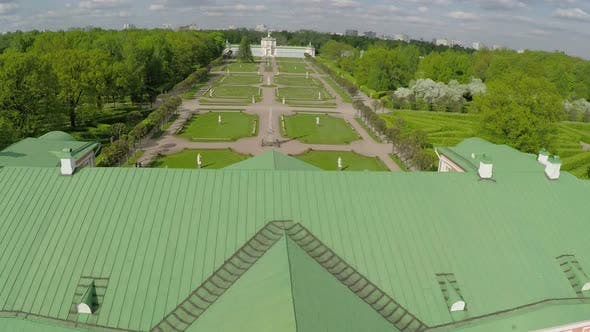 Series of palaces and gardens Tsaritsyno, aerial view
