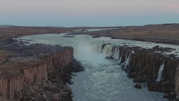 Thumbnail for Selfoss Waterfall. Iceland. Aerial View