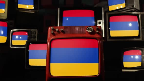 Flag of Armenia and Retro TV Sets.