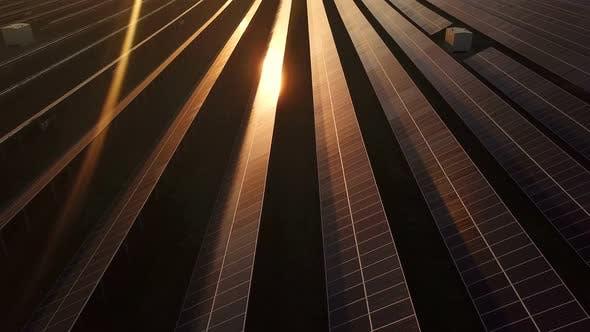 An Industrial Solar Energy Farm at Sunset