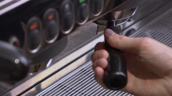 Thumbnail for Coffee Machine Making Double Espresso in Paper Cup.