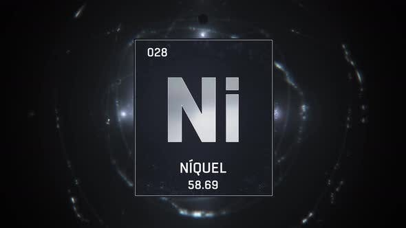 Thumbnail for Nickel as Element 28 of the Periodic Table on Silver Background in Spanish Language