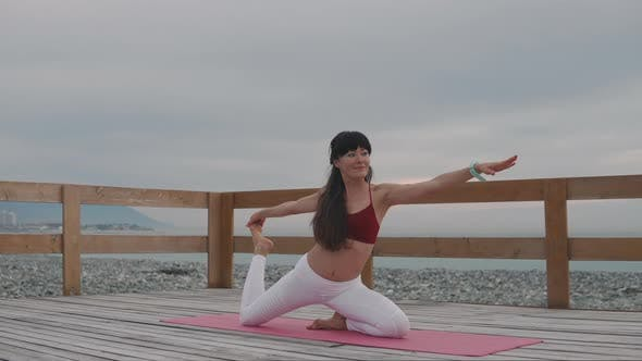 Meditating Woman Doing Yoga Outdoor.