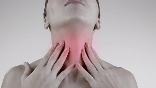 Sore Throat. Woman with Pain Throat