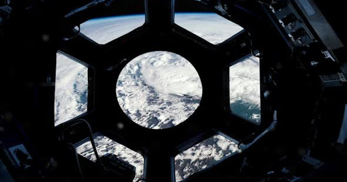 Clouds and Atmosphere over the Planet Earth seen from ISS.
