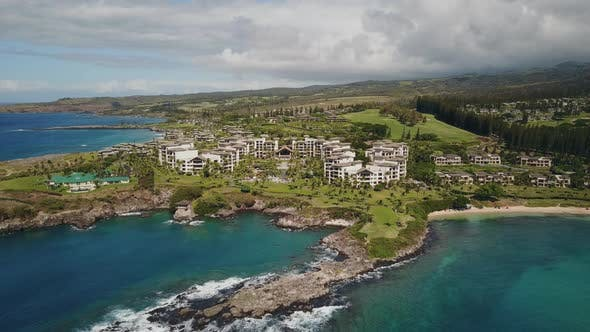 Fly Over the Pacific Ocean with Comfortable Resort Montage Kapalua and Picturesque Terrain on
