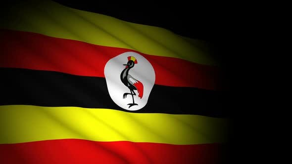 Uganda Flag Blowing in Wind