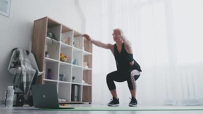 Online Fitness Sportive Woman Home Training