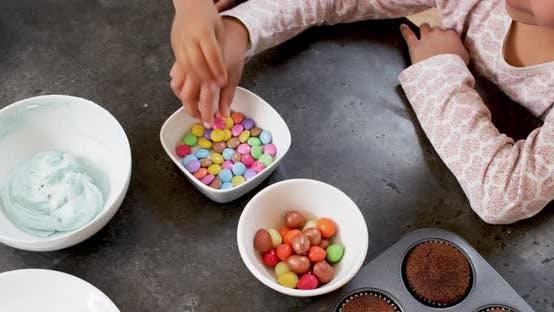 Children eating candies